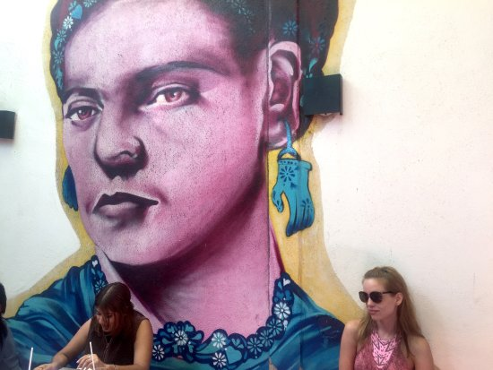 Frida cafe bar: One of the two Frida murals... this one in the back courtyard