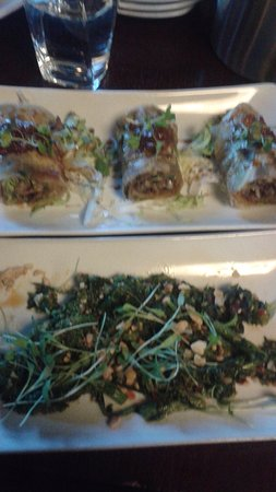 sprig and vine: Green Onion Pancake Rolls and Broccoli Rabe with roasted cashews and cilantro!