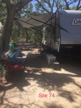 North Beach Camp Resort: Site 74, we had a 30' travel trailer and plenty of room! Lots of shade and privacy.