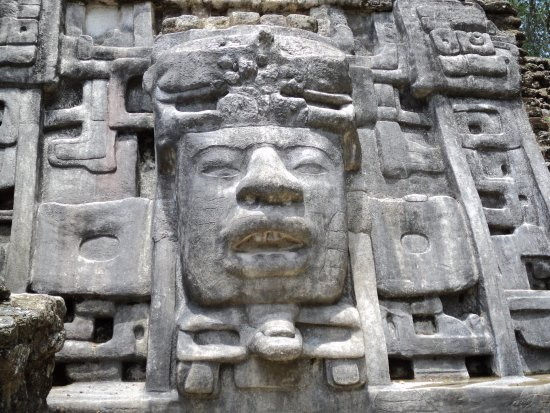 District Belize, Belize: Close up of the Mask temple.