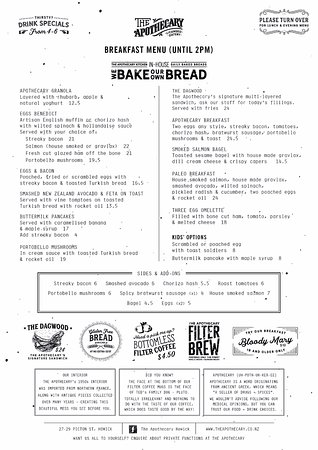 Howick, Neuseeland: Breakfast Menu (Until 2pm)