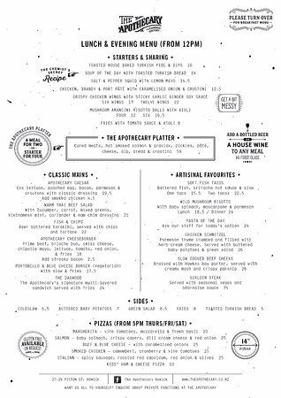 Howick, Neuseeland: Lunch & Evening Menu (From 12pm)