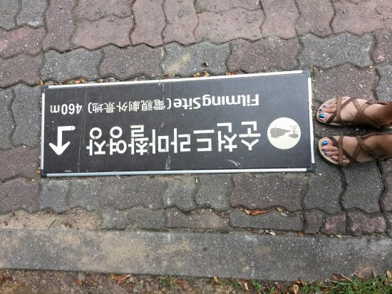 Suncheon, Южная Корея: from the Bus Stop, there are directions going to the Film Set