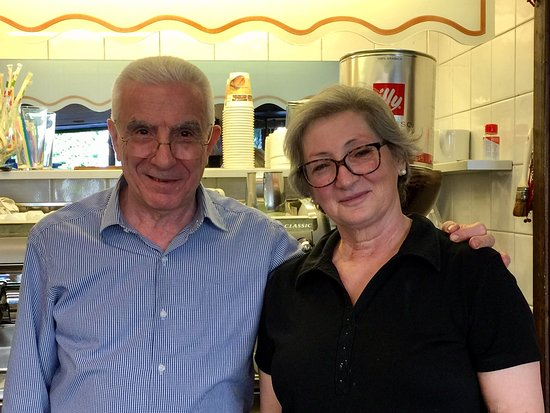 The lovely couple that manages Bar Vittoria's hustle & bustle. Best espresso, cappuccino & pastr
