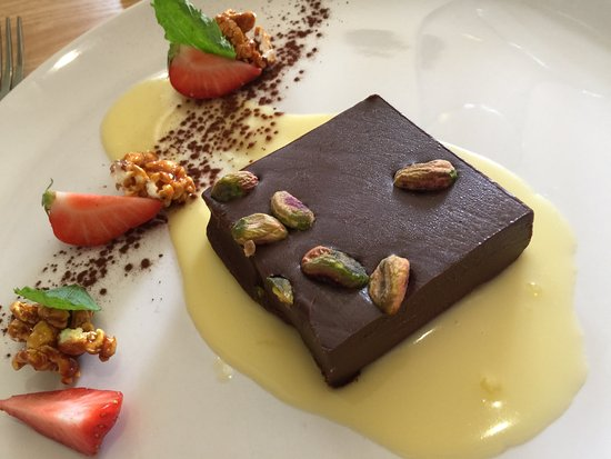 Farthinghoe, UK: Chocolate and pistachio nut marquise with toffee popcorn