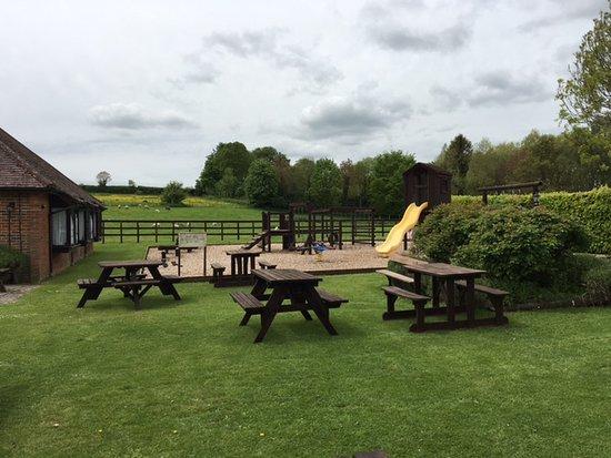 Tarrant Monkton, UK: Beer garden and play area