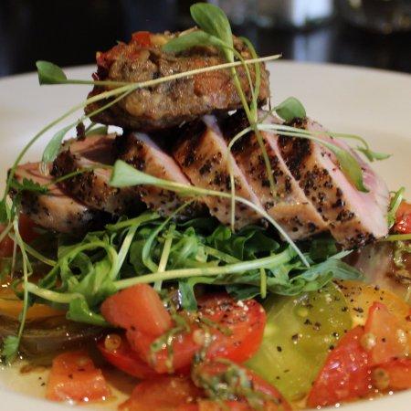 Easingwold, UK: Peppered Tuna Steak with Aubergine Caviar