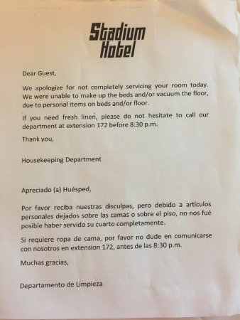 Miami Gardens, FL: left a shirt and boots on bed.....never saw a note like this in any hotel my entire life.