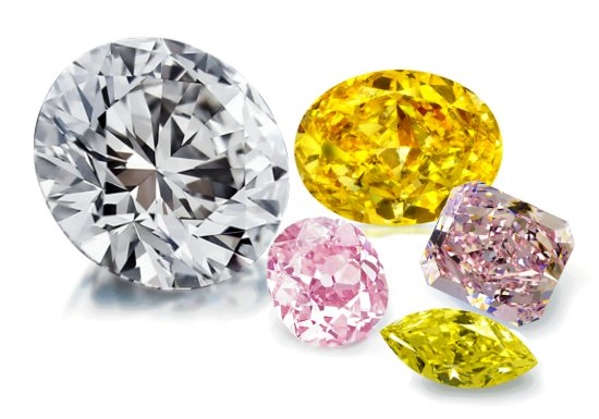First Diamonds: Variety of Loose investment stones and natural colored Diamonds