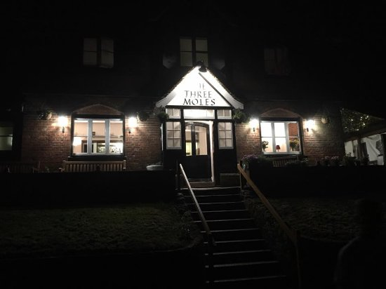 Petworth, UK: The newly restored look for The Three Moles by night