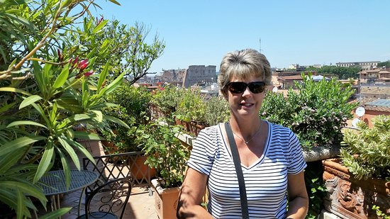 Hotel Lancelot: View from 6th floor terrace with Colosseo in background