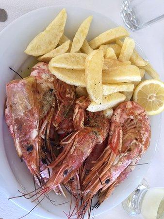 Agia Fotia, Grécia: Grilled shrimp