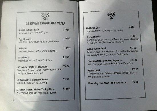 Whanganui, Nowa Zelandia: Sample of the menu