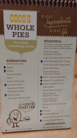 Stevenson Ranch, CA: Pie Menu - highly recommended!