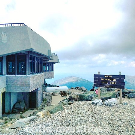 Gorham, NH: Top of Mount Washington, with views of the mountains across, and the gift shop/snack bar buildin