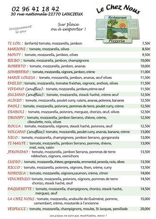 Lancieux, Francja: La carte des pizzas