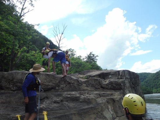 Glen Jean, WV: Boys getting ready to jump in the water