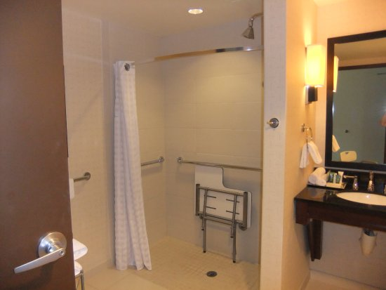 Roll-in-shower with bench. - Picture of Hilton Asheville Biltmore ...