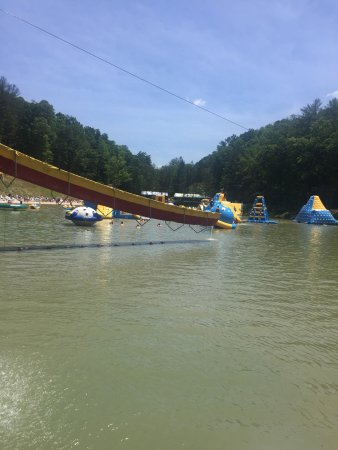 Oak Hill, WV: The obstacles in the lake are a blast! Great fun for adults and kids alike! Bring your own chair