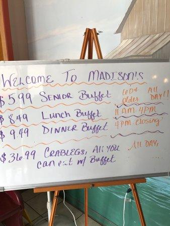 Sneads Ferry, NC: Madison's Prime Rib Buffet