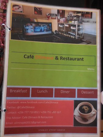 Menu cover with contact details. Cafe Olimaco Kasese