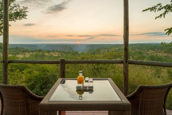 The Elephant Camp: View the Batoka Gorge in the distance, that separates Zimbabwe and Zambia