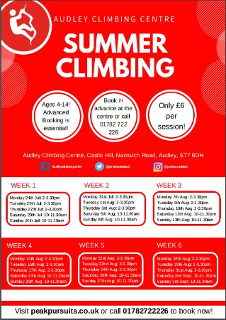 Summer at Audley Climbing Centre