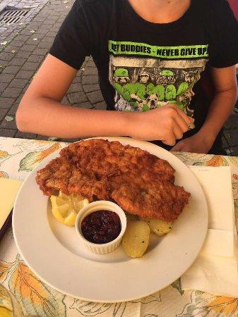 Murau, Austria: Bauergulasch, grösse Wienersnitzel