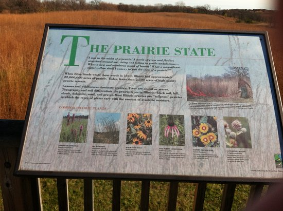 Ingleside, IL: Info board in front of a prairie in this state park