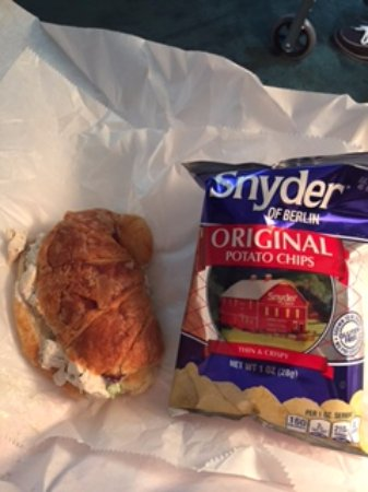 Slippery Rock, PA: Chicken salad croissant with little (smaller than usual) bag of chips.