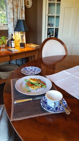 The Pebble Bed & Breakfast: Pepper and Corn Fritter with Roasted Tomatoes, Arugula, and Bacon