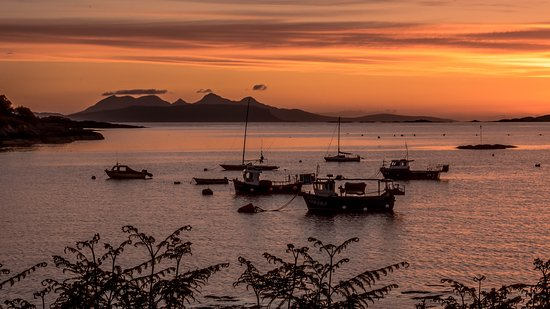 Sunset over Glenuig Bay. Rum Cuillin in the distance.This view is within 5mins walk from he Glen