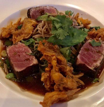 Seared Ahi Tuna Over Soba Noodles In A Homemade Ponzu Sauce