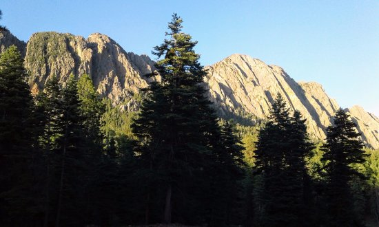 Corkins Lodge: View of the Brazos peaks from the cabins area