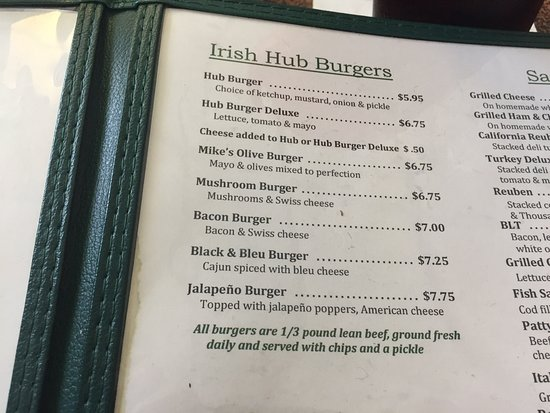 Bay City, MI: Coonan's menu