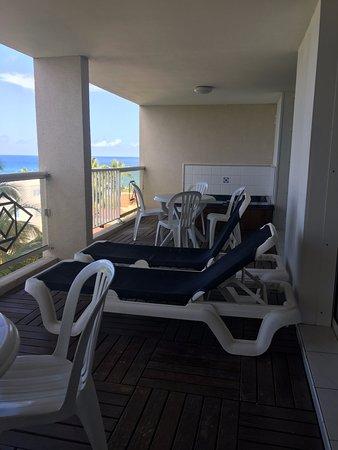 Sapphire Beach Club Resort: Double-width balcony, one bedroom/two bath unit.