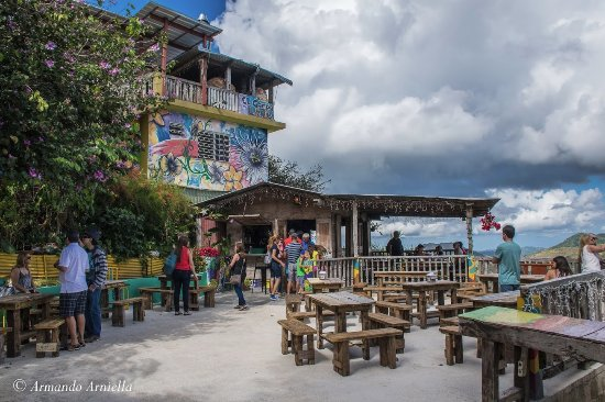 El Campo es Lena: Patio bar for waiting. Main dining area is upstairs.