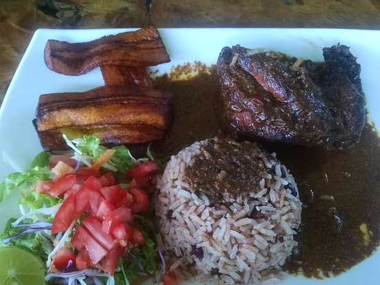 Soda Wacho: Carribean​ chicken with rice and plantains and salad