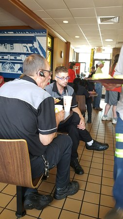 Mount Horeb, WI: crew member break during luch hour