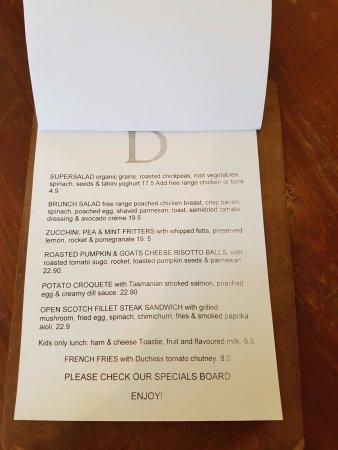 The Duchess Cafe Sandy Bay Menu