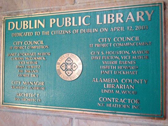 Dublin, CA: Dedication Plaque