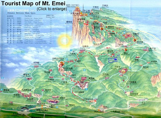 Emeishan, China: The map and route that we took