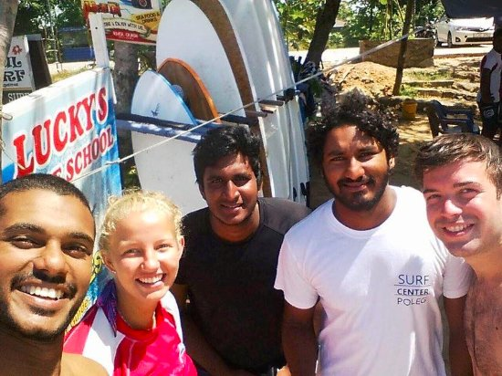 Weligama, Sri Lanka: just out of the wather after surfing at luckys surfschool