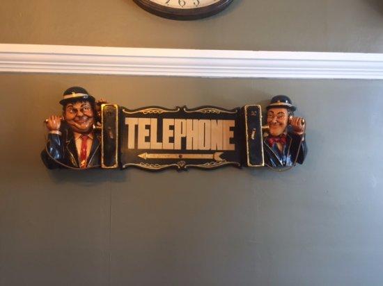 Interior telephone sign,Fanny Bay Inn  7480 Island Hwy S, Fanny Bay, British Columbia