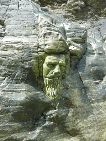 Merlin's Cave : Carving of Merlin