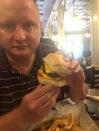 Mugshots Grill & Bar: The double burger.