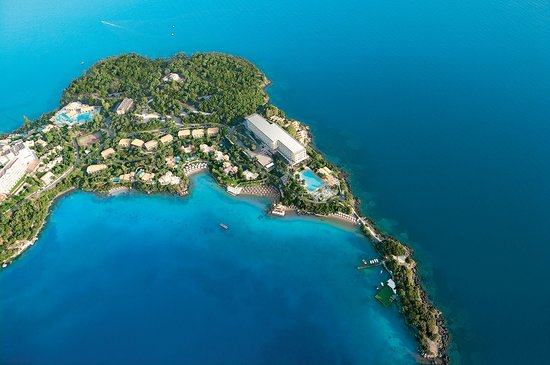 Kommeno Bay, Greece: Private Kommeno Peninsula and Corfu Imperial, aerial view