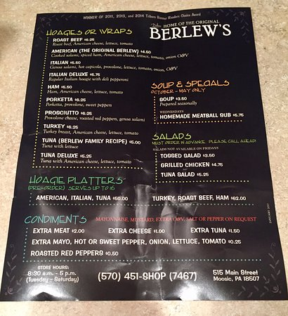 Moosic, PA: Berlew's Menu June 2017