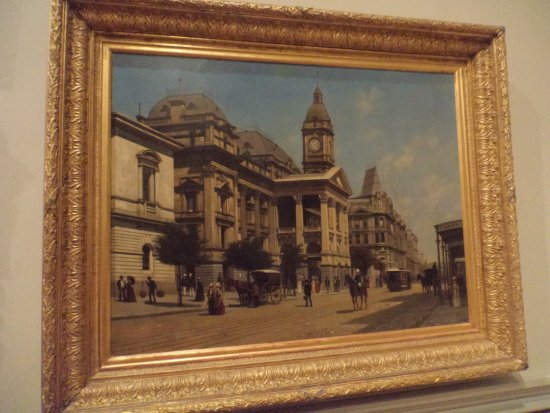 State Library of Victoria: An old Melbourne street scene painted by Dutch artist Jacques FRancois Carabain