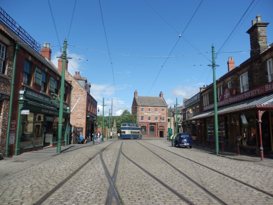 Beamish, UK: The Main Street in the Town.